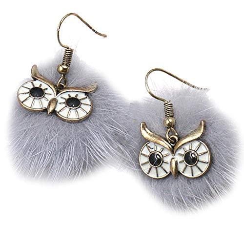 CACAZI Pom Pom Ohrringe Kreative Eulenform Federball Ohrringe Kunstpelz Eule Baumel Ohrringe Tropfen Ohrringe für Frauen