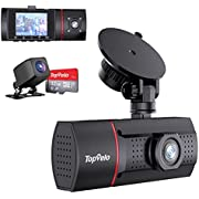 """3 Channel Dash Cam SD Card Included, TopVelo 1080P Front and Rear Interior Car Dash Camera Three Way, 2"""" LCD Display Dashboard Camera, Super IR Night Vision, 24Hours Parking Monitor, Motion Detection"""