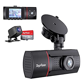 """3 Channel Dash Cam SD Card Included TopVelo 1080P Front and Rear Interior Car Dash Camera Three Way 2"""" LCD Display Dashboard Camera Super IR Night Vision 24Hours Parking Monitor Motion Detection"""