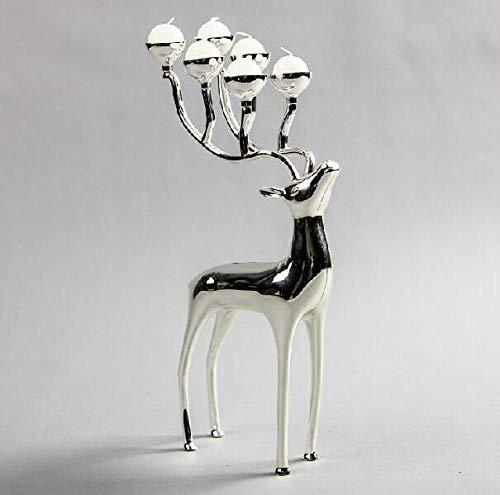 LIUJUAN Candlestick Holders Pillar Candle Holders Creative Silver Plated Deer Shape Metal Candle Holder Candlestick Holder 6-Arms Candelabra-Silver