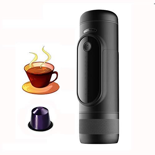 JJCFM Koffiemachine, 12 V, draagbaar koffiezetapparaat, opladen capsule, machine, espressomachine, 2600 mAh accu, kan warmte water 15 bar koelen, voor thuiskantoor