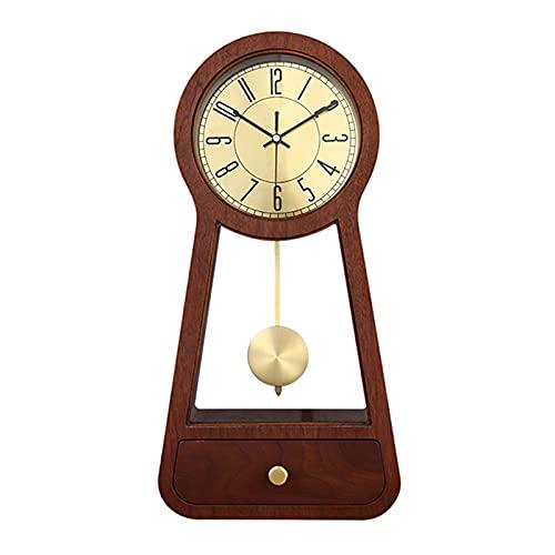 Tingting1992 Alarm Clock Table Clock New Chinese Wood Living Room Desk Clock Desktop Home Clock Ornaments Chinese Silent Table Pendulum Desktop Desk Clock