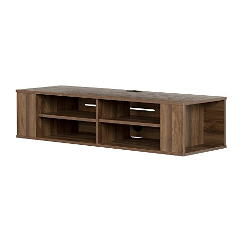 South Shore City Wall Mounted Media Audio/Video Console, Natural Walnut