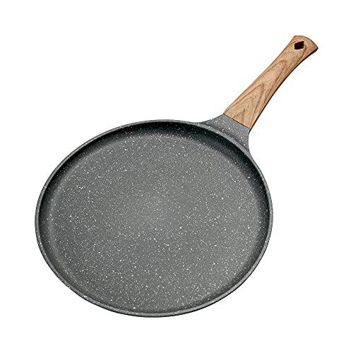 Pfanne für Crêpes/Pfannkuchen, Antihaftpfanne, Flache Pfanne für Crepes und Pfannkuchen, Holzgriff (24 cm)