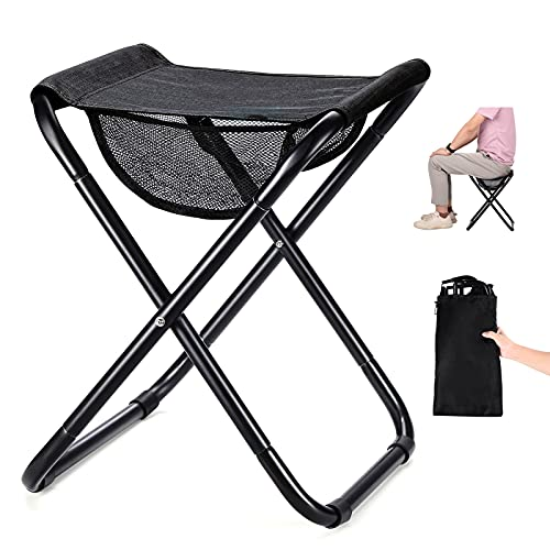 """Camping Stool Folding Stool Lightweight Portable Stool High-Strength Collapsible Stool Folding Camp Chair for Adults,Traveling,Hiking,Fishing Foldable Stool with Carry Bag Large:16""""x12.6""""x10.5"""""""