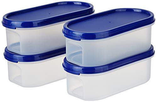 Amazon Brand - Solimo Modular Plastic Storage Containers With Lid (Transparent, Set Of 4, 525ml)