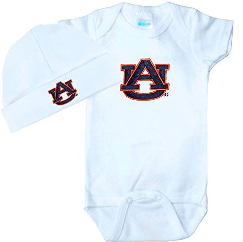Future Tailgater Auburn Tigers Baby Onesie and Cap Set - White (Newborn)