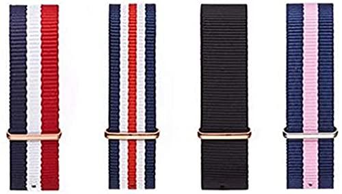 chenghuax Correa de nailon con hebilla de plata para 18 mm y 20 mm de lujo, para reemplazar la pulsera, correa de reloj (color: 18 mm, tamaño: 2 azul, 2 blanco, 1 rojo G)
