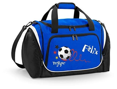 Mein Zwergenland Sporttasche Kinder personalisierbar mit Schuhfach, Kindersporttasche 39L mit Name und Torjäger Bedruckt in Royal Blau