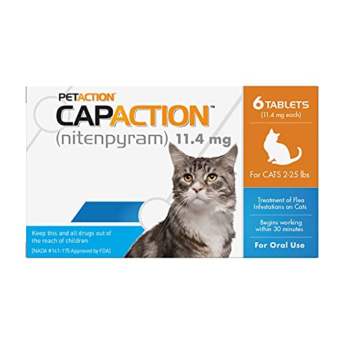 CAPACTION Fast-Acting Oral Flea Treatment for Cats (2-25 lbs), 6 Doses, 11.4 mg