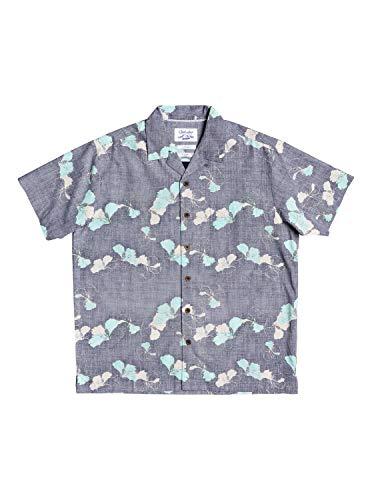 Quiksilver Herren Woven Button Down Hemd, Navy Iris Lei Around, Mittel