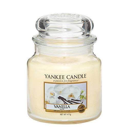 Yankee Candle mittelgroße Duftkerze im Glas, Vanilla, Brenndauer bis zu 75Stunden