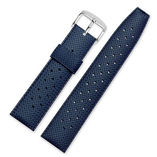 LINMAN 20mm 22mm Goma Impermeable Reloj Reloj Deporte Buceo Pulsera de Silicona Transpirable Pulsera de Silicona (Band Color : Blue, tamaño : 22mm)
