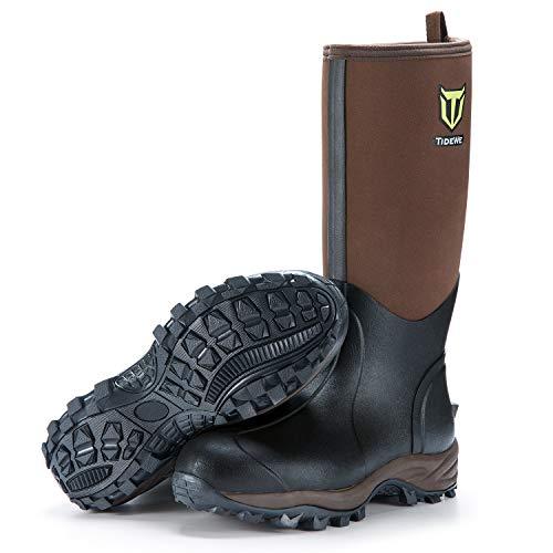 TideWe Rubber Neoprene Boots Men and Women, Waterproof Durable 6mm Neoprene Boot, Rain Boot Muck Hunting Boot Arctic Outdoor Boot Men Size 6 Brown (Ger Ⅱ)