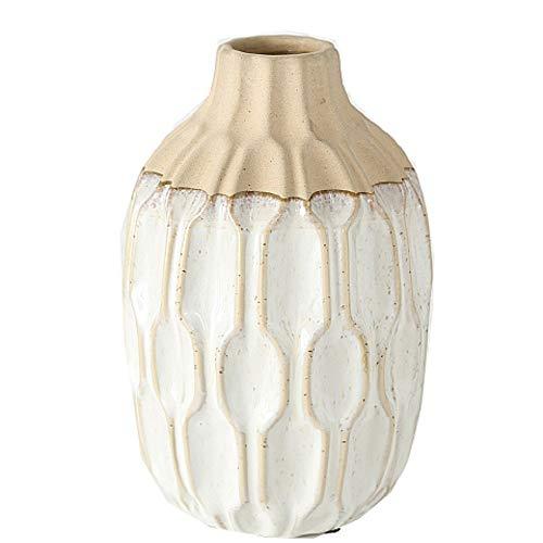 CasaJame Steingut Vase H25cm D15cm cremeweiß mediterran