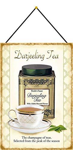 Metalen bord 20x30cm gebogen met koord Darjeeling Tea Thee The Champagne of Teas Deco Gift Shield Tin Sign