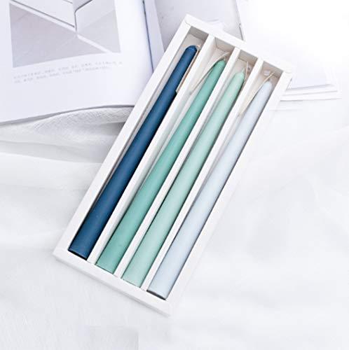 Velas para Candelabro Colores Velas Perfumadas Regalo 7 Horas de Tiempo de Combustión Paquete de 4 (Verde - océano y Bosque)