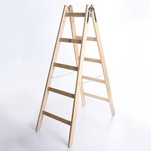 Holzleiter STANDARD 2x5 Stufen Zweiseitige Klappleiter Leiter Haushaltsleiter 150kg