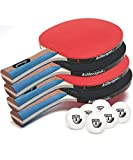 Killerspin JETSET 4 Premium Set - Table Tennis Set with 4 Ping Pong Paddles With Premium Rubbers and 6 Ping...