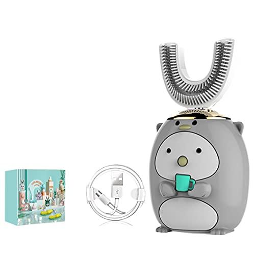 MeterBew1147 Smart 360 Gradi a Forma di U spazzolino Elettrico per Bambini Silicone Automatico ad ultrasuoni spazzolino da Denti Modello Cartone Animato-Pinguino Grigio 6-14 Anni