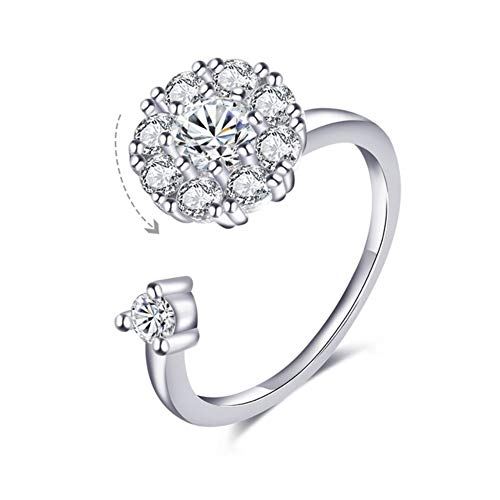Blowin Fidget Ring Women's Wedding Band Cubic Zirconia Spinner Ring Girl's Rotatable Rings Relieving Anxiety and Stress (Silver)