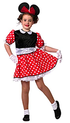 narrenkiste Disfraz infantil de Minnie W3675-116, color rojo, negro y blanco, talla 116