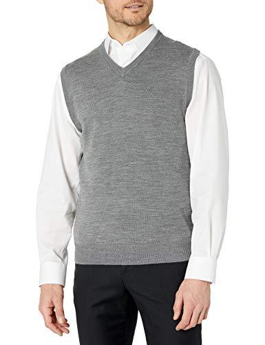 Cutter & Buck Men's Douglas V-Neck Sweater Vest, Medium Grey Heather, Large