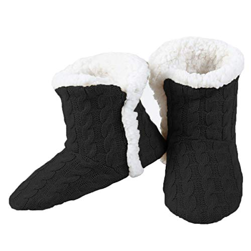Yelete Womens Cable Knit Slippers House Booties Socks Soft Sherpa Lining Rubber Soles Black M/L  Size 8-11