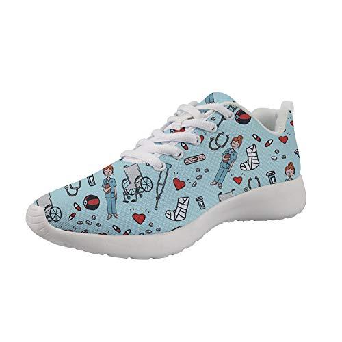 Showudesigns Enfermero Corazón Modelo Zapatillas para Mujer Zapatillas Deportivas de Mujer Running Zapatos para Correr Gimnasio Calzado Sport Sneakers Verde