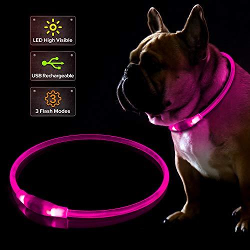 KABB LED Hundehalsband, Wiederaufladbares USB-Blinkhalsband für die Sicherheit bei Nacht, Verstellbares, Wasserdichtes, Hell Beleuchtetes Halsband für Hunde - Eine Grösse passt Allen, Rosa