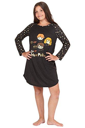 Harry Potter Hermione Chibi Charms Logo House Crest Raglan Pajama Gown, Black, 10/12