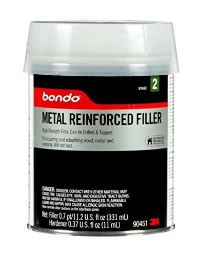 Bondo Metal Reinforced Filler - High Strength Filler, Can be Drilled and Tapped - Will Not Rust, 11.2 Fl oz with 0.37 oz Hardener
