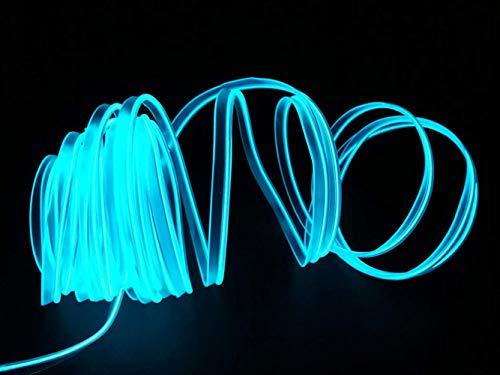 USB Neon EL Draht für Kostüm Cosplay Festival Dekoration Glühender Elektrolumineszenzdraht Licht Kaltlicht mit Laufwerk Licht Lampe Glow String Strip 2M / 6FT (Eisblau)
