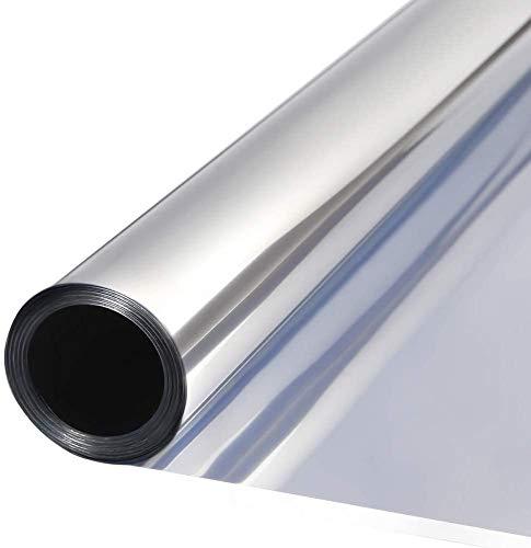 DUTISON Film Miroir Fenetre Adhesif Effet Miroir Anti Regard sans Tain pour Vitre Papier Miroir Anti Chaleur 99% Anti UV (Argent, 90 * 200)