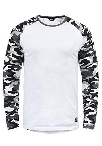 !Solid Cajus Herren Longsleeve Langarmshirt Shirt Mit Camouflage-Muster Und Rundhals-Ausschnitt Aus 100% Baumwolle, Größe:XXL, Farbe:White Grey (G0001)