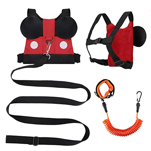 Accmor Toddler Leash Child Harness + Baby Anti Lost Wrist Link, Cute Kid Harness Leash Assistant Walking Strap for 1-5 Years Boys and Girls to Zoo or Mall