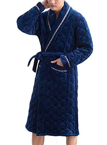Camisón Acolchado Hombre Invierno Espesamiento y Terciopelo Three-Layer Thread Coral Fleece Pajamas Otoño e Invierno Long Flannel Albornoz (Color : Blue, Size : Medium)