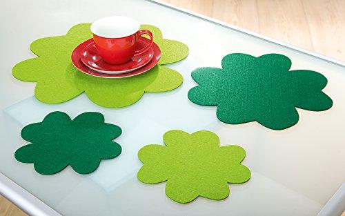 Feutre Set de Table Décoration Tapis Trèfle 40 cm, Lot de 2, 1 Vert Clair + 1 Vert foncé, Lavable, Guilde Artisanat