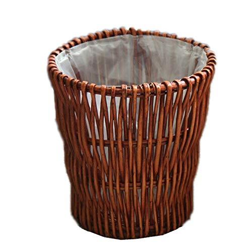 hsj WDX- Papelera hecha a mano de ratán para sala de estar, hogar, oficina, hotel, madera, pastoral, creativo, de gran tamaño (color: B)