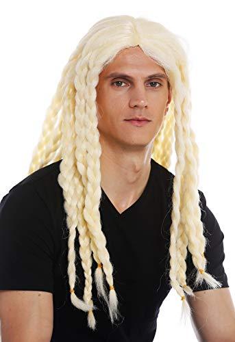 WIG ME UP - 68286-FRP03C Perücke Karneval Halloween Herren Damen lang gelochten Zöpfe blond Wikinger Barde