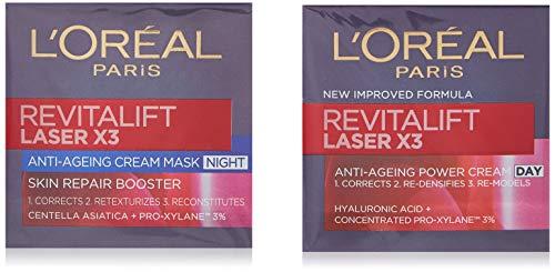 L'Oreal Paris Revitalift Laser X3 Day Cream with Night cream, 50 ml x 2 (Pack of 1)