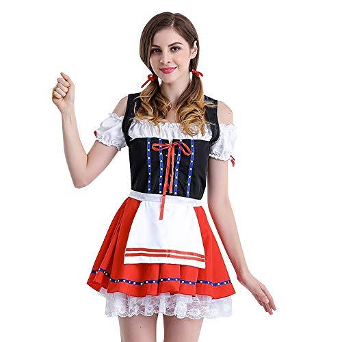 Sannysis Trachten-Kleid Dirndl Damen Oktoberfest Karneval Kostüm Trachtenkleid Bayerische Taverne Halloween Cosplay Party Kleid Traditionelles Kleidung (L, Rot)
