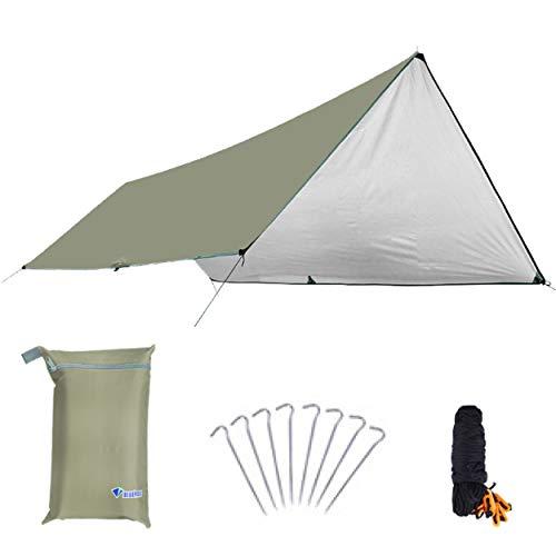 Azarxis Toldo Impermeable de Tienda de Campaña Ligero UV Protección Refugio con Accesorios para Acampar Mochilero Picnix Aventura al Aire Libre (Caqui - L)