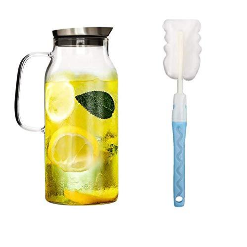 IDEALUX 2.0 Liter 70 Unzen Glas Krug karaffe mit Deckel Eistee Krug Wasserkrug Heißes Kaltes Wasser Eistee Wein Kaffee Milch und Saft Getränkekaraffe wasserkaraffe