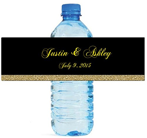 """100 Black & Gold Glitter Wedding Anniversary Engagement Party Water Bottle Labels 8""""x2"""""""
