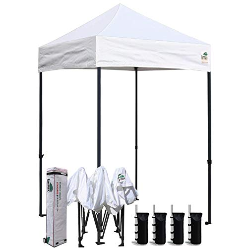 Eurmax 5x5 Ez Pop up Canopy Outdoor Heavy Duty Instant Tent Pop-up Canopies Sun Shelter with Deluxe Wheeled Carry Bag (White)