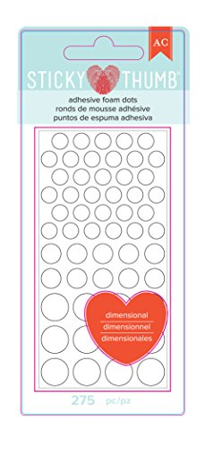 American Crafts 340272 Sticky Thumb Foam DT ASST, White Dots, Assorted Sizes