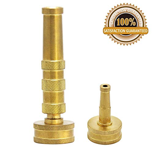 Twinkle Star Solid Brass Heavy Duty Adjustable Twist Hose Nozzle Jet Sweeper Nozzle, TWIS3231