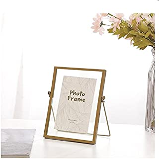4x6 inches Free Standing Metal Photo Frame Picture Frame – Desk Photo Display for Pictures Gold Color