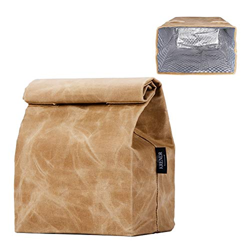 Updated Waxed Canvas Lunch Bag, Waterproof Lunch Box with 2 Velcro Buckles, Isolate Lining Inside, Reusable Lunch Bag, Eco-Friendly, Easy to Clean, Suitable for Men, Women, Kids (14x8.5x5.5 in)